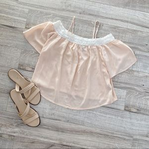 Forever 21 Off Shoulder Flowy Peach Top Medium